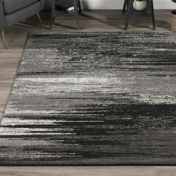 Pewter, Grey, Silver, Linen Contemporary / Modern Area Rug