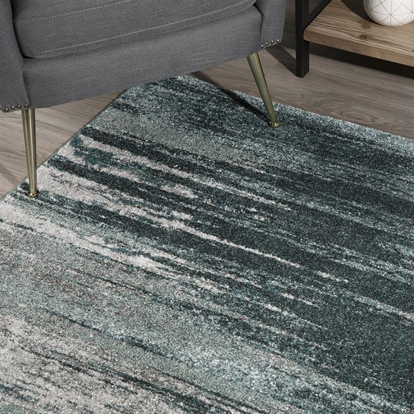 Teal, Grey, Silver Transitional Area Rug