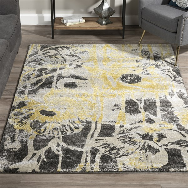 Lemon, Linen, Grey Contemporary / Modern Area Rug