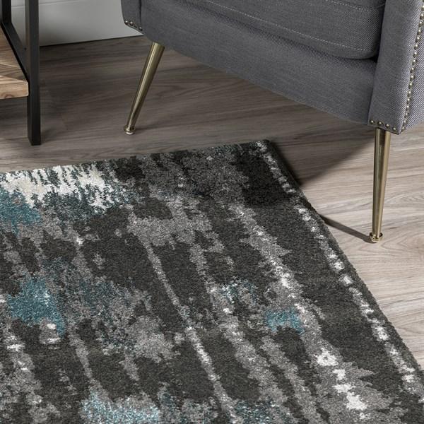 Teal, Linen, Silver Contemporary / Modern Area Rug