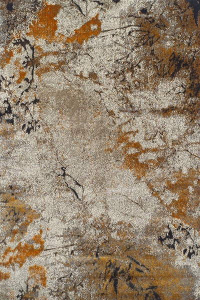 Tangerine, Taupe, Ivory Abstract Area Rug