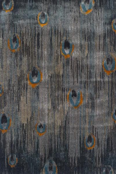 Grey, Teal, Tangerine Transitional Area Rug