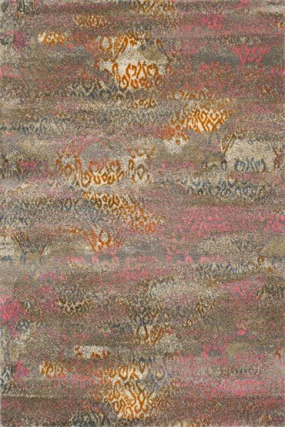 Taupe, Pink, Tangerine Transitional Area Rug