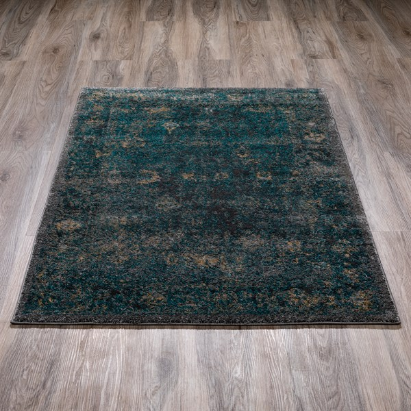 Charcoal, Blue Vintage / Overdyed Area Rug