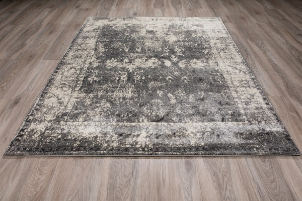 Grey, Ivory, Charcoal Vintage / Overdyed Area Rug