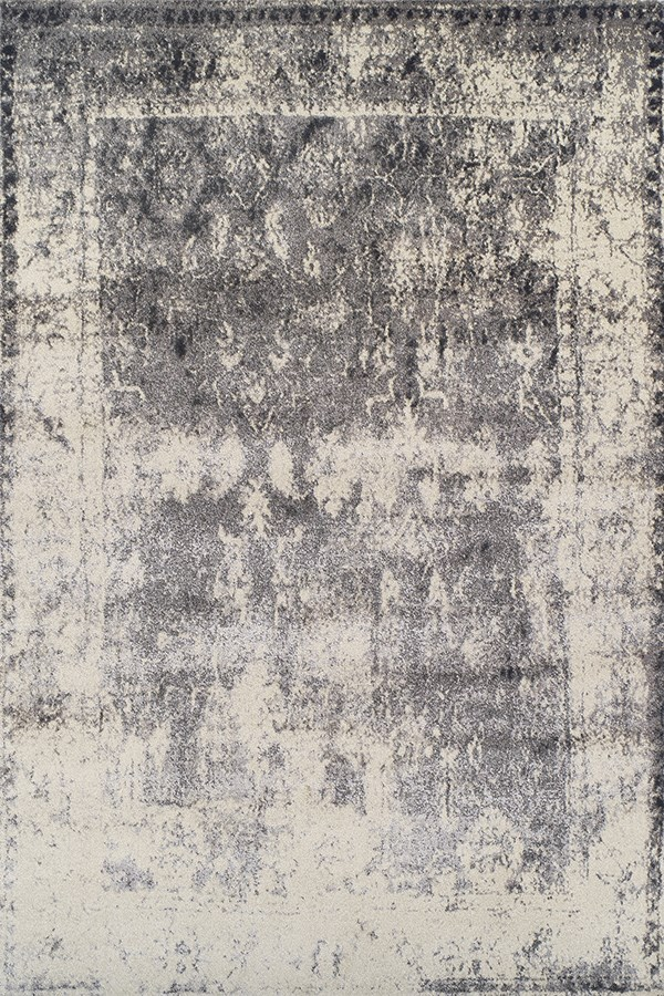 Grey, Ivory, Charcoal Vintage / Overdyed Area Rug