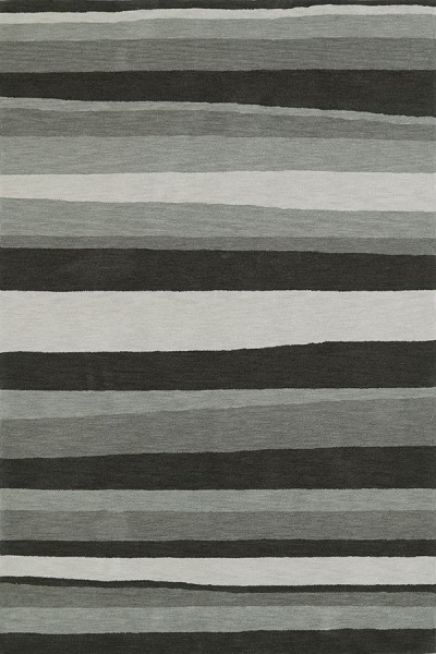 Charcoal, Silver, Fawn Striped Area Rug