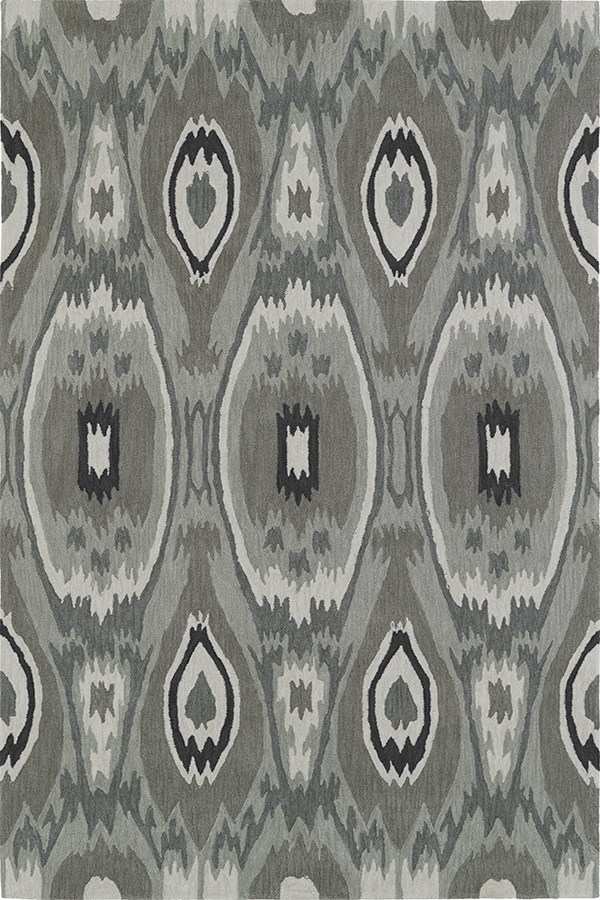 Silver, Fawn, Charcoal Ikat Area Rug