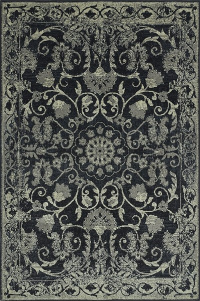 Black, Grey, Ivory Traditional / Oriental Area Rug