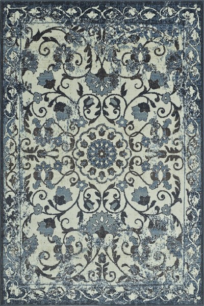 Ivory, Blue, Navy Traditional / Oriental Area Rug
