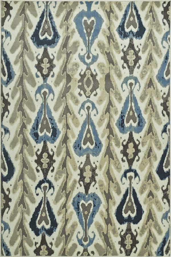 Ivory, Grey, Blue Ikat Area Rug