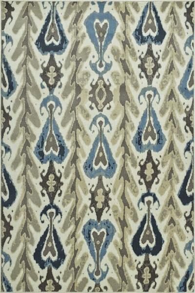 Ivory, Grey, Blue Bohemian Area Rug