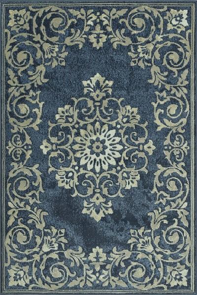 Denim, Ivory, Grey Traditional / Oriental Area Rug
