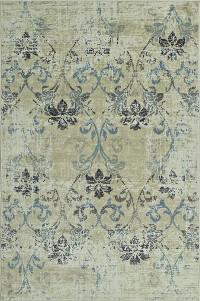 Ivory, Grey, Blue Vintage / Overdyed Area Rug