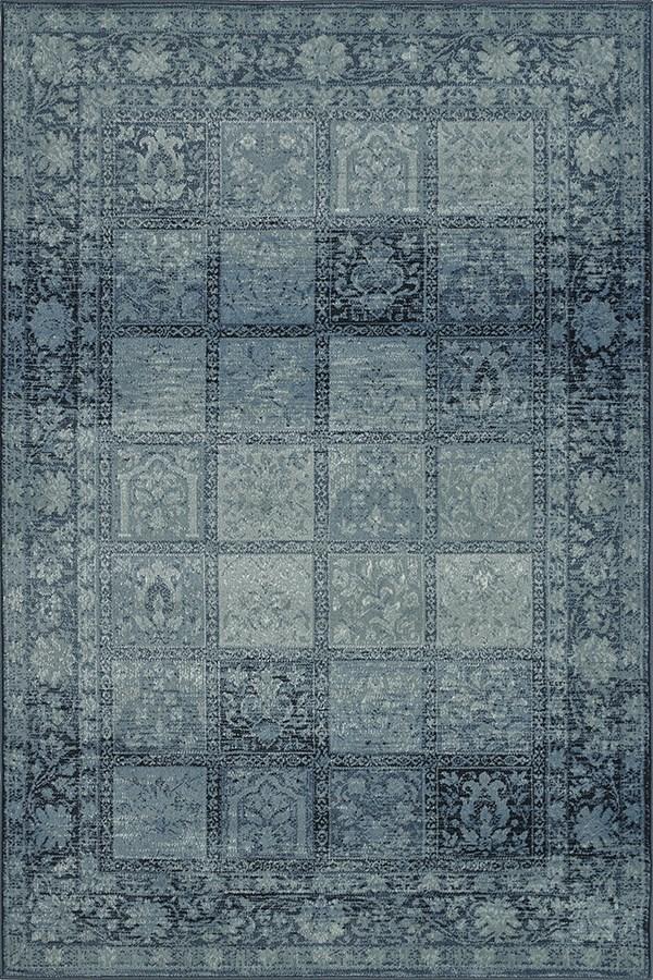 Sky Blue, Navy, Grey Traditional / Oriental Area Rug