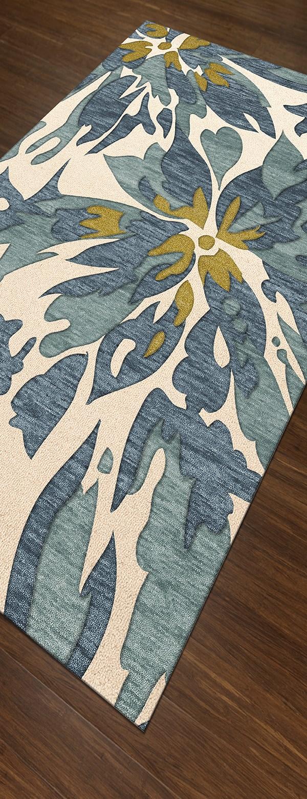 Lace, Blue Floral / Botanical Area Rug