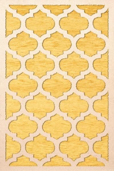 Yellow, Ivory Moroccan Area Rug