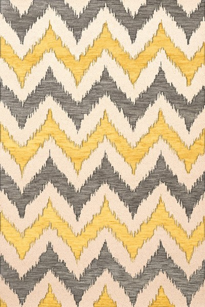 Ash, Ivory, Yellow Contemporary / Modern Area Rug