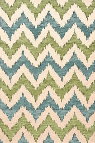 Pear, Ivory, Blue Contemporary / Modern Area Rug
