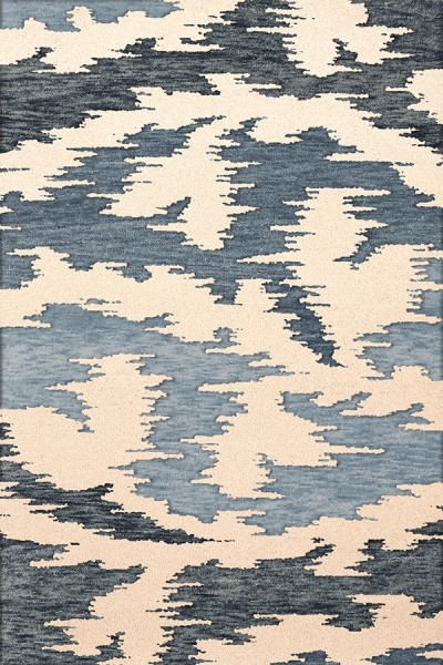 Blue Harbor, Ivory, Blue Contemporary / Modern Area Rug