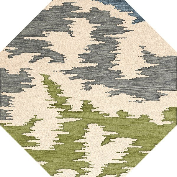 Peacock, Ivory, Grey, Green Contemporary / Modern Area Rug