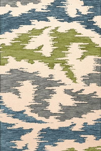 Peacock, Ivory, Grey, Green Contemporary / Modern Area Rug