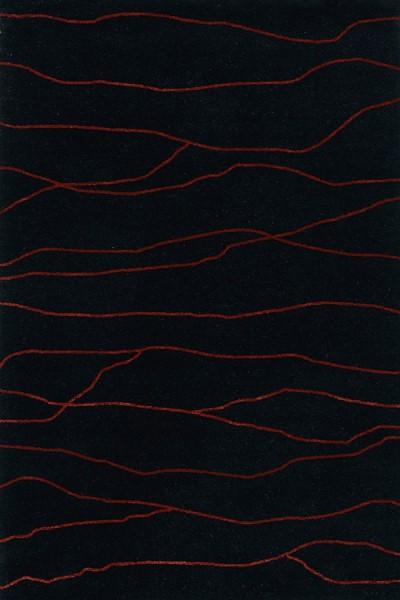 Black, Paprika Contemporary / Modern Area Rug