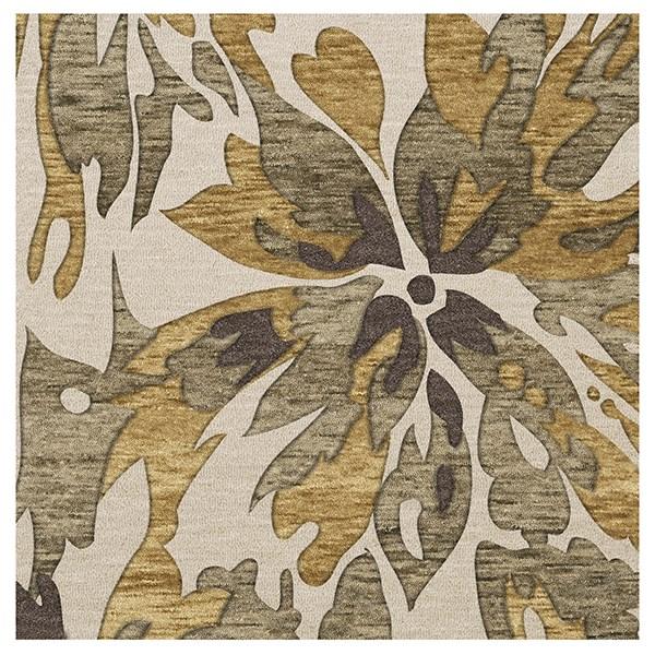 Lamb, Taupe, Brown, Gold Floral / Botanical Area Rug