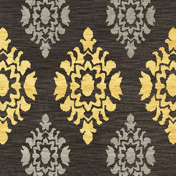 Ash, Yellow, Grey Damask Area Rug