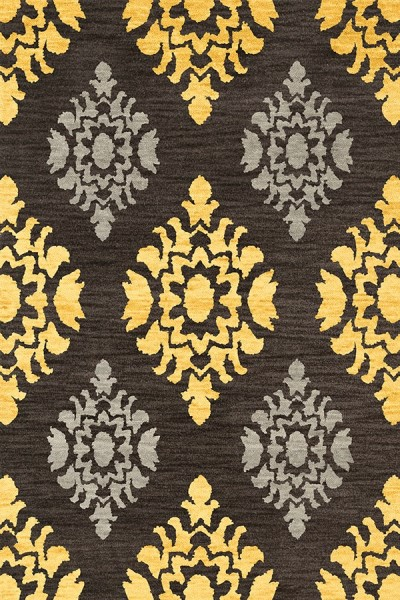 Ash, Yellow, Grey Traditional / Oriental Area Rug
