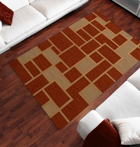 Wheat, Paprika, Beige Contemporary / Modern Area Rug