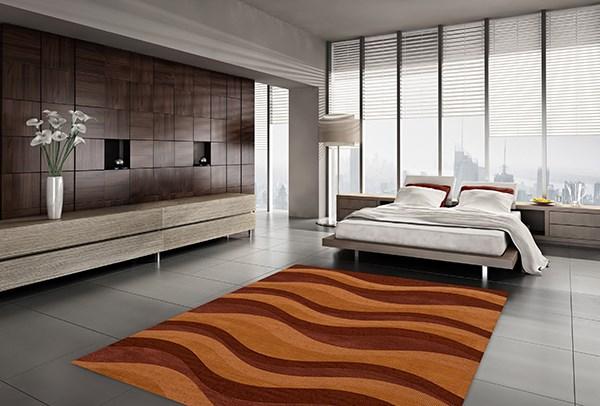 Harvest, Orange, Paprika Contemporary / Modern Area Rug