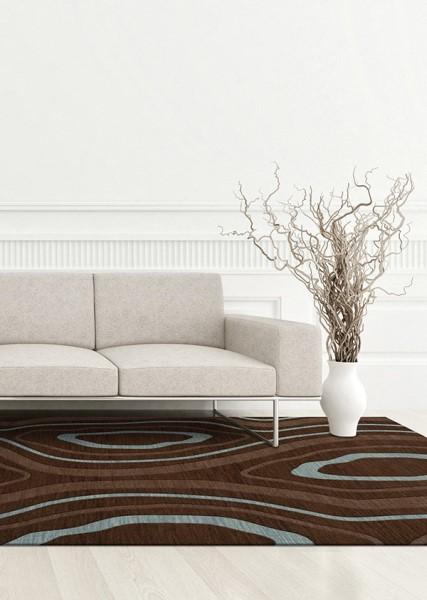 Cork, Brown, Blue Contemporary / Modern Area Rug