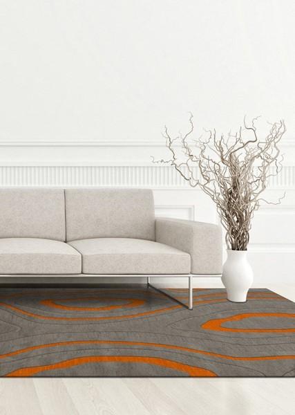 Zinc, Grey, Orange Contemporary / Modern Area Rug