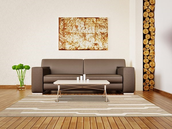 Chopstick, Ivory, Beige Contemporary / Modern Area Rug