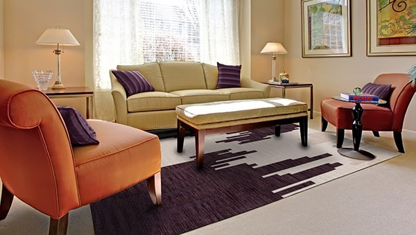 Royalty, Purple, Ivory Contemporary / Modern Area Rug