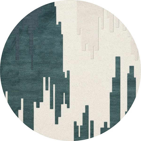 Blue Suede, Ivory, Green, Blue Contemporary / Modern Area Rug
