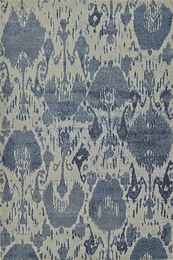 Denim, Blue, Ivory Ikat Area Rug