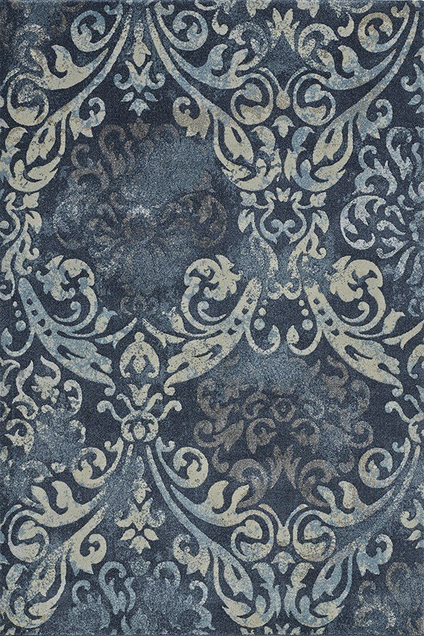 Navy, Linen, Grey Damask Area Rug