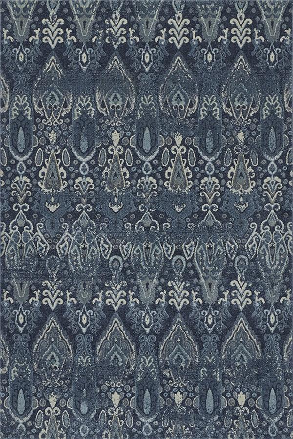 Navy, Blue, Grey Ikat Area Rug