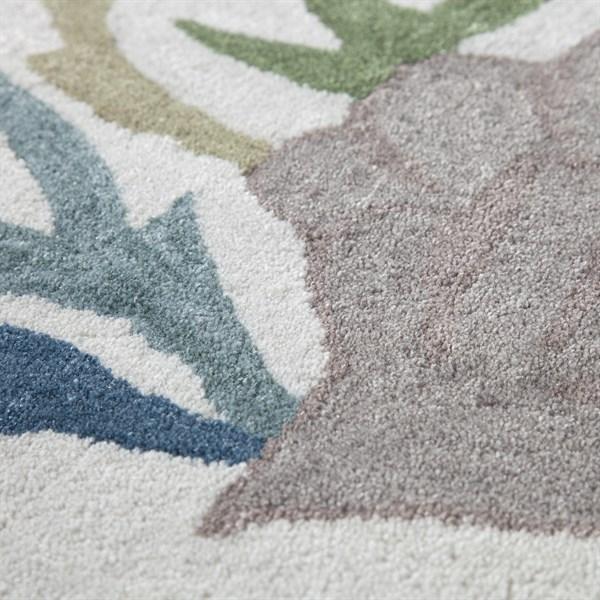 Linen, Blue, Taupe, Khaki Beach / Nautical Area Rug