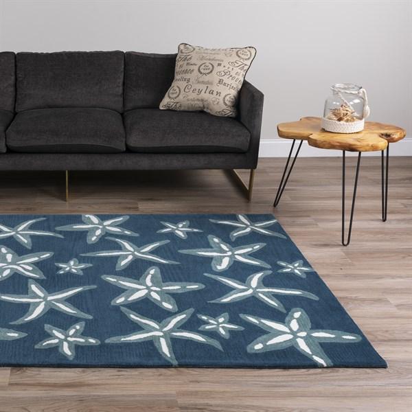 Baltic, Steel Blue, Linen Beach / Nautical Area Rug