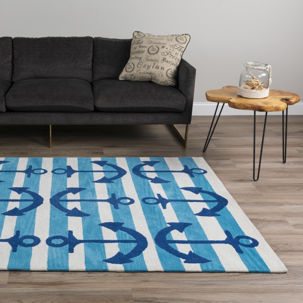 Blue, Linen Beach / Nautical Area Rug