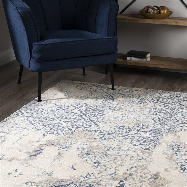Linen, Taupe, Navy Vintage / Overdyed Area Rug