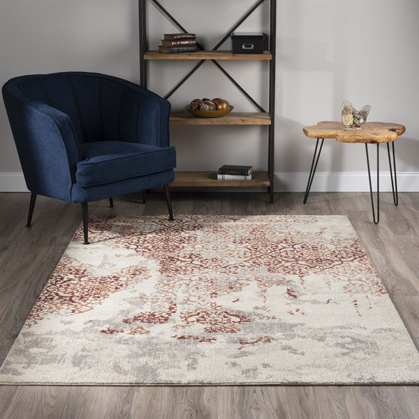 Linen, Taupe, Paprika, Cinnamon Vintage / Overdyed Area Rug