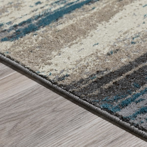 Linen, Teal, Steel, Chocolate Transitional Area Rug