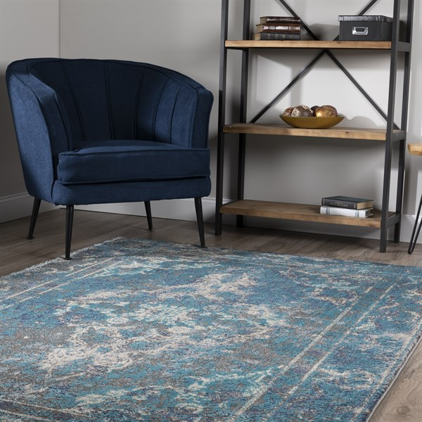 Pewter, Teal, Navy, Taupe Traditional / Oriental Area Rug