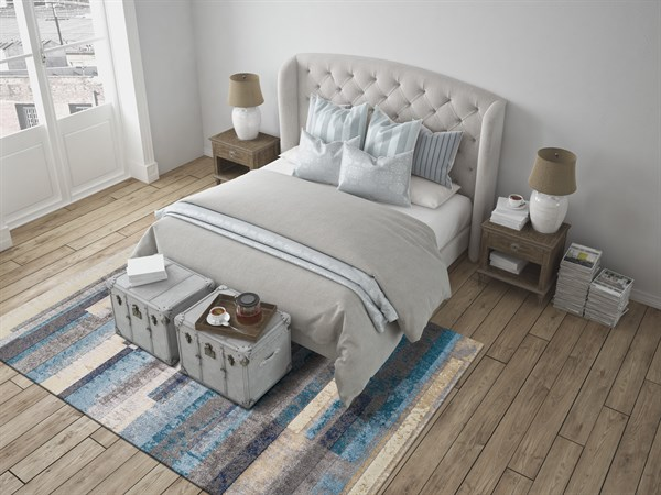 Linen, Pewter, Navy, Teal Transitional Area Rug