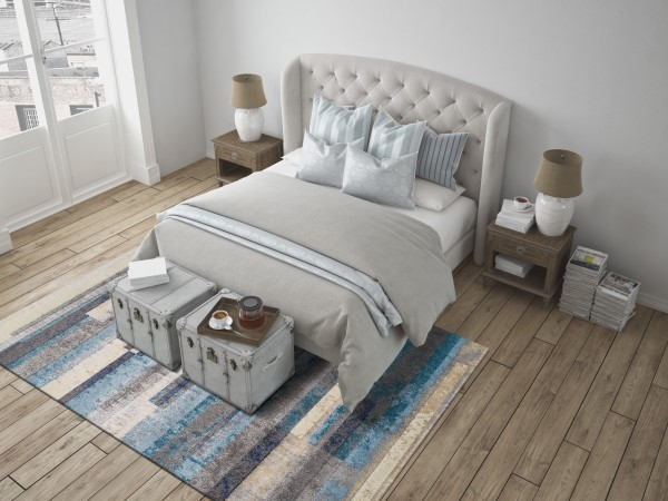 Linen, Pewter, Navy, Teal Contemporary / Modern Area Rug
