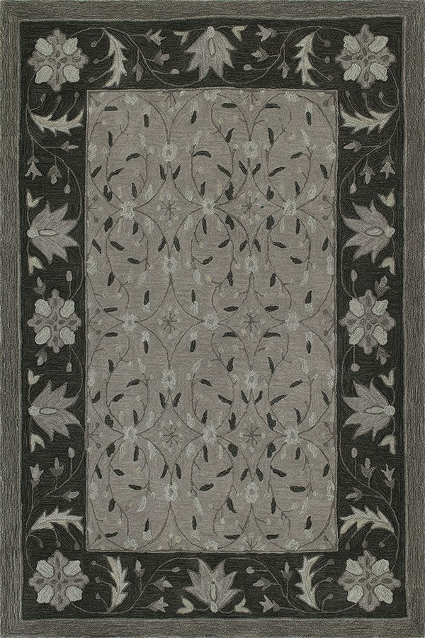 Pewter, Grey, Silver Traditional / Oriental Area Rug